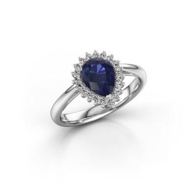 Picture of Engagement ring Tilly per 1 585 white gold sapphire 8x6 mm