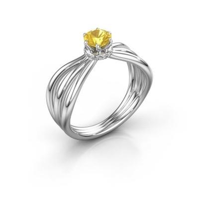 Verlobungsring Kimi 585 Weißgold Gelb Saphir 5 mm