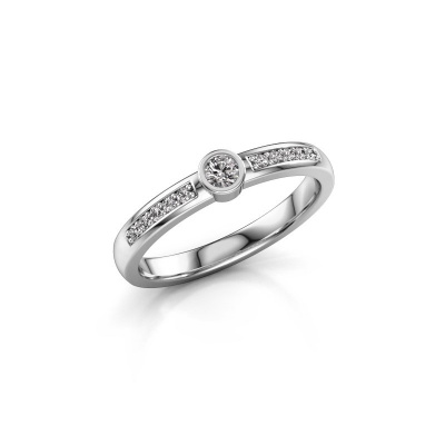 Engagement ring Ise 2 585 white gold diamond 0.155 crt
