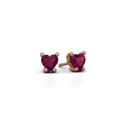 Foto van Oorbellen Sam Heart 375 rosé goud rhodoliet 5 mm