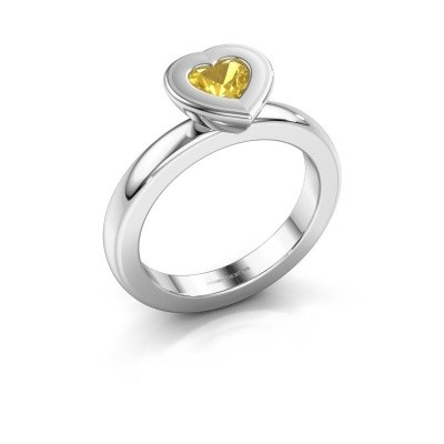 Stapelring Eloise Heart 585 witgoud gele saffier 5 mm