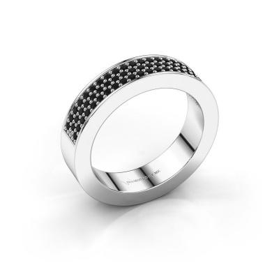 Ring Lindsey 2 585 witgoud zwarte diamant 0.52 crt