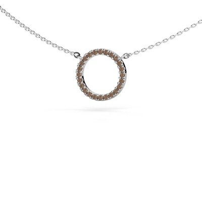 Foto van Hanger Circle 585 witgoud bruine diamant 0.18 crt