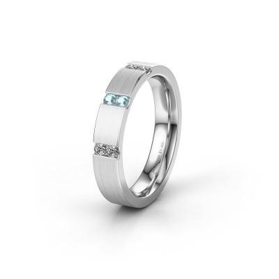 Wedding ring WH2133L14BM 950 platinum aquamarine ±4x2.2 mm
