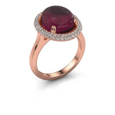 Ring Jayna 375 rose gold rhodolite 12x10 mm