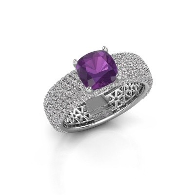 Engagement ring Darcy 585 white gold amethyst 7 mm