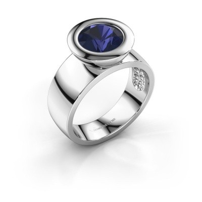 Ring Maxime 925 zilver saffier 8 mm