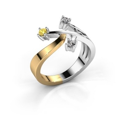 Ring Lillian 585 goud gele saffier 2.5 mm