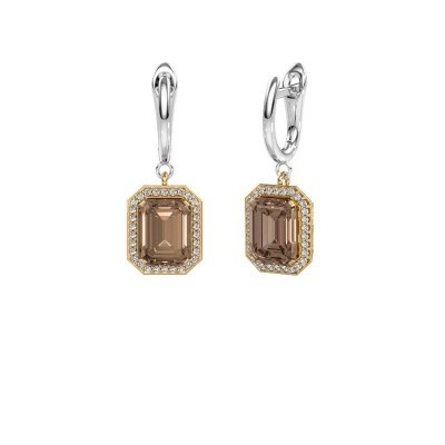 Drop earrings Dodie 1 585 gold brown diamond 2.50 crt