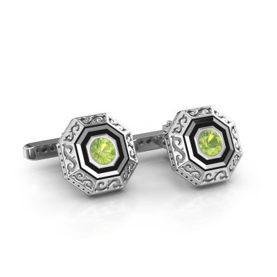 Picture of Cufflinks Dion 925 silver peridot 5 mm