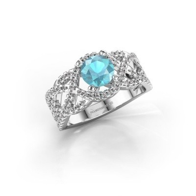 Verlovingsring Jeni 950 platina blauw topaas 6.5 mm