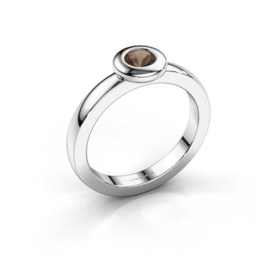 Ring Iris 585 white gold smokey quartz 4 mm