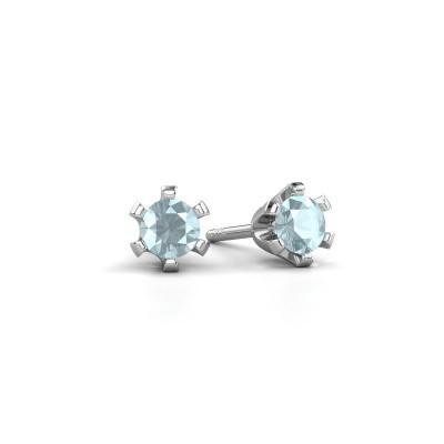 Stud earrings Shana 925 silver aquamarine 4 mm