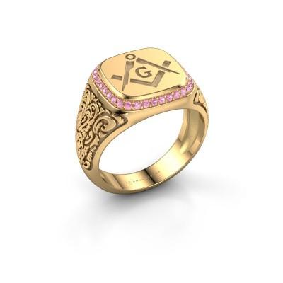 Foto van Herenring Johan 2 585 goud roze saffier 1.2 mm