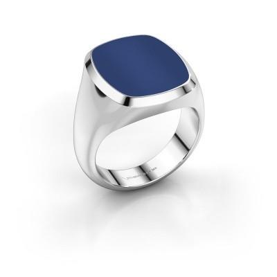 Foto van Zegelring Benjamin 4 375 witgoud lapis lazuli 17x14 mm