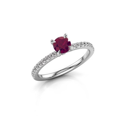 Picture of Engagement ring Crystal rnd 2 925 silver rhodolite 5 mm