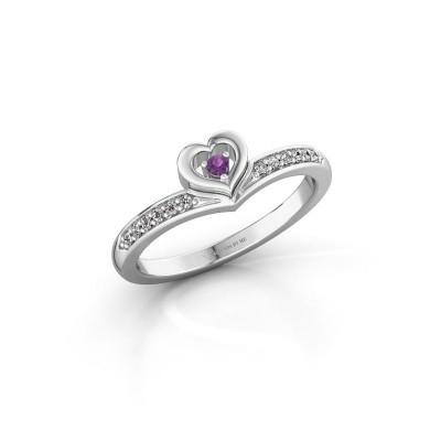 Ring Mimi 585 witgoud amethist 2 mm