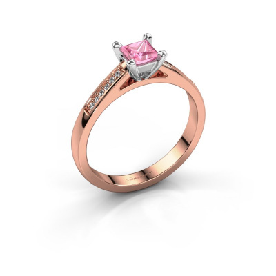 Engagement ring Nynke SQR 585 rose gold pink sapphire 4 mm