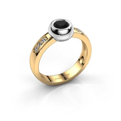 Ring Charlotte Round 585 goud zwarte diamant 0.60 crt