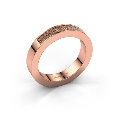 Stackable ring Catharina 1 375 rose gold brown diamond 0.16 crt