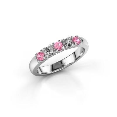 Foto van Aanzoeksring Rianne 5 585 witgoud roze saffier 2.7 mm