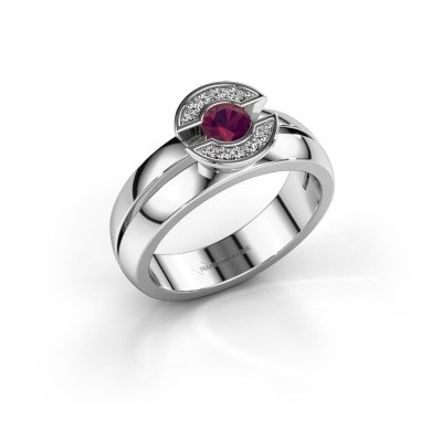 Ring Jeanet 1 585 witgoud rhodoliet 4 mm