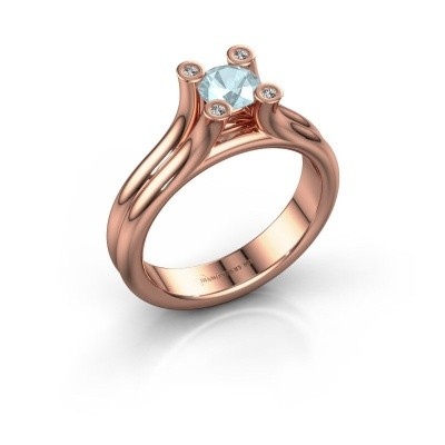Belofte ring Stefanie 1 375 rosé goud aquamarijn 5 mm