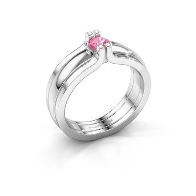 Picture of Ring Jade 925 silver pink sapphire 4 mm