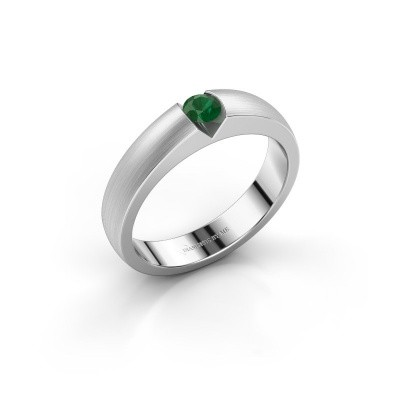 Verlobungsring Theresia 925 Silber Smaragd 3.4 mm