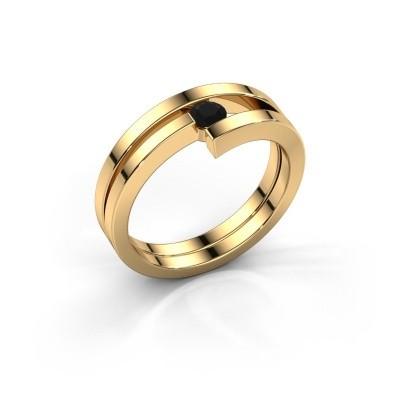 Ring Nikia 585 goud zwarte diamant 0.18 crt