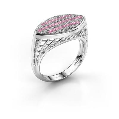 Foto van Ring Mireille 375 witgoud roze saffier 1.1 mm