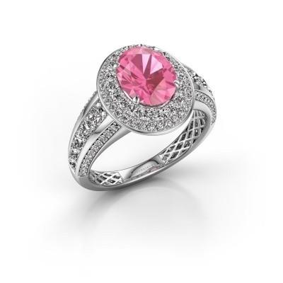 Foto van Verlovingsring Nancie 585 witgoud roze saffier 9x7 mm