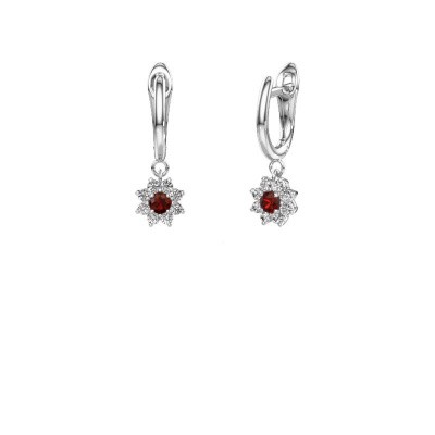 Drop earrings Camille 1 950 platinum garnet 3 mm