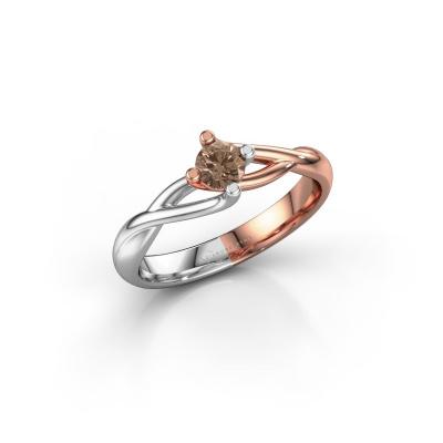 Foto van Verlovingsring Paulien 585 rosé goud bruine diamant 0.25 crt
