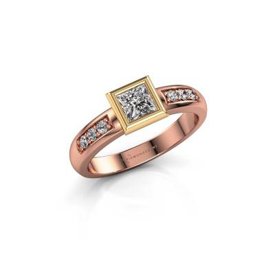 Stacking ring Lieke Square 585 rose gold zirconia 4 mm