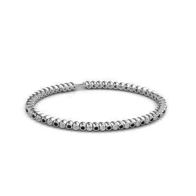 Foto van Tennisarmband Bianca 2 mm 585 witgoud zwarte diamant 1.980 crt