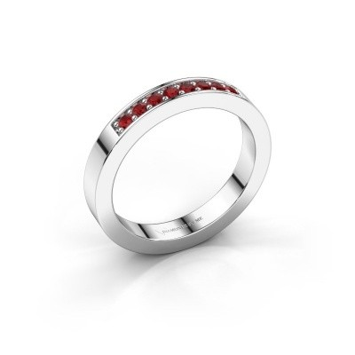 Stackable ring Loes 5 925 silver ruby 1.7 mm