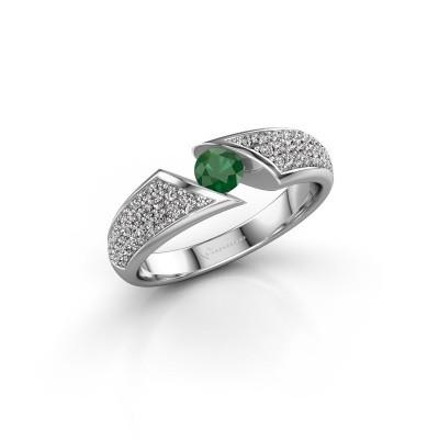 Foto van Ring Hojalien 3 950 platina smaragd 4 mm