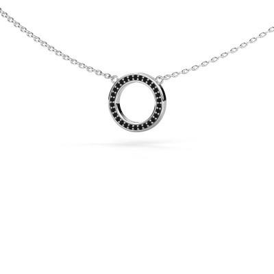 Foto van Hanger Round 1 375 witgoud zwarte diamant 0.09 crt