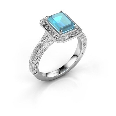Verlovings ring Alice EME 950 platina blauw topaas 7x5 mm