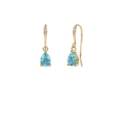 Picture of Drop earrings Laurie 2 585 gold blue topaz 7x5 mm