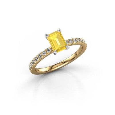 Foto van Verlovingsring Crystal EME 2 585 goud gele saffier 6.5x4.5 mm