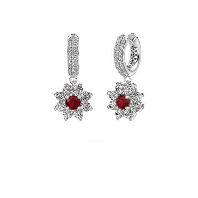 Picture of Drop earrings Geneva 2 585 white gold ruby 4.5 mm
