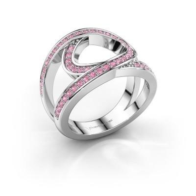Ring Louise 925 zilver roze saffier 1.2 mm