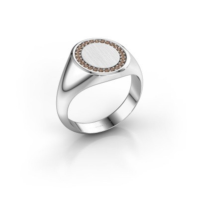 Men's ring Floris Oval 3 925 silver brown diamond 0.203 crt