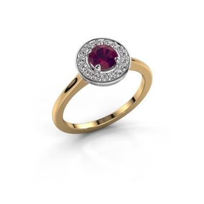 Ring Agaat 1 585 goud rhodoliet 5 mm