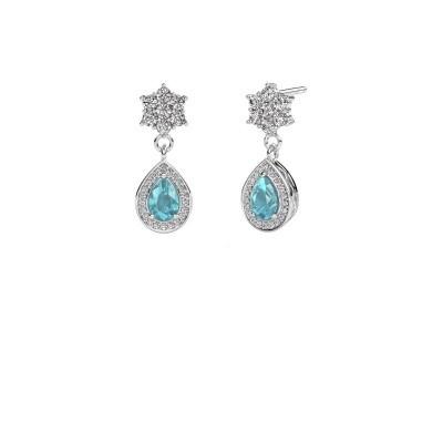 Picture of Drop earrings Era 950 platinum blue topaz 6x4 mm