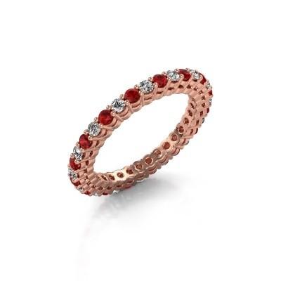 Aanschuifring Rufina 3 375 rosé goud robijn 1.9 mm