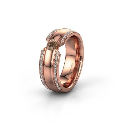 Wedding ring WHR0575L 375 rose gold brown diamond ±0.28x0.08 in