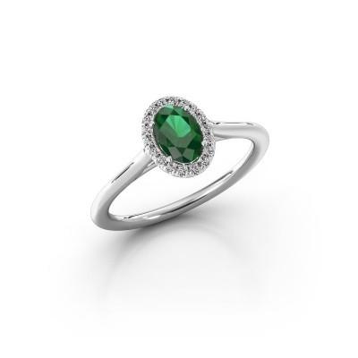 Engagement ring Seline 1 950 platinum emerald 6x4 mm